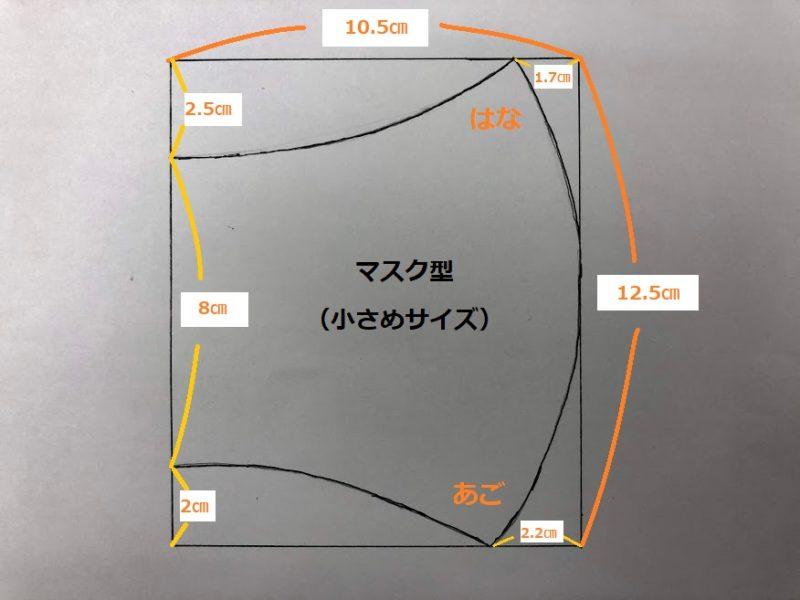 小さめサイズのマスク型紙寸法の写真