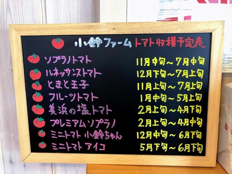 トマトの種類が書いてある黒板の写真